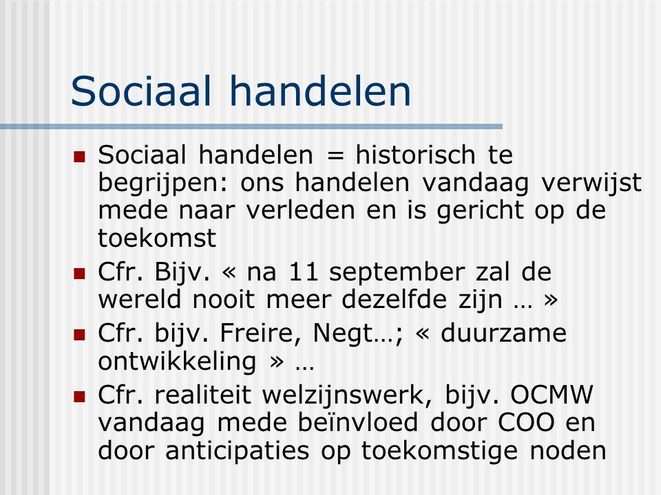 Sociaal handelen Sociaal handelen = historisch te begrijpen: ons handelen vandaag verwijst mede naar verleden en is gericht op de toekomst.