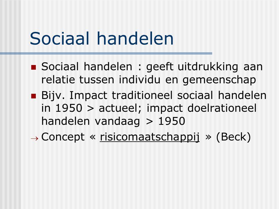 Sociaal handelen Sociaal handelen : geeft uitdrukking aan relatie tussen individu en gemeenschap.