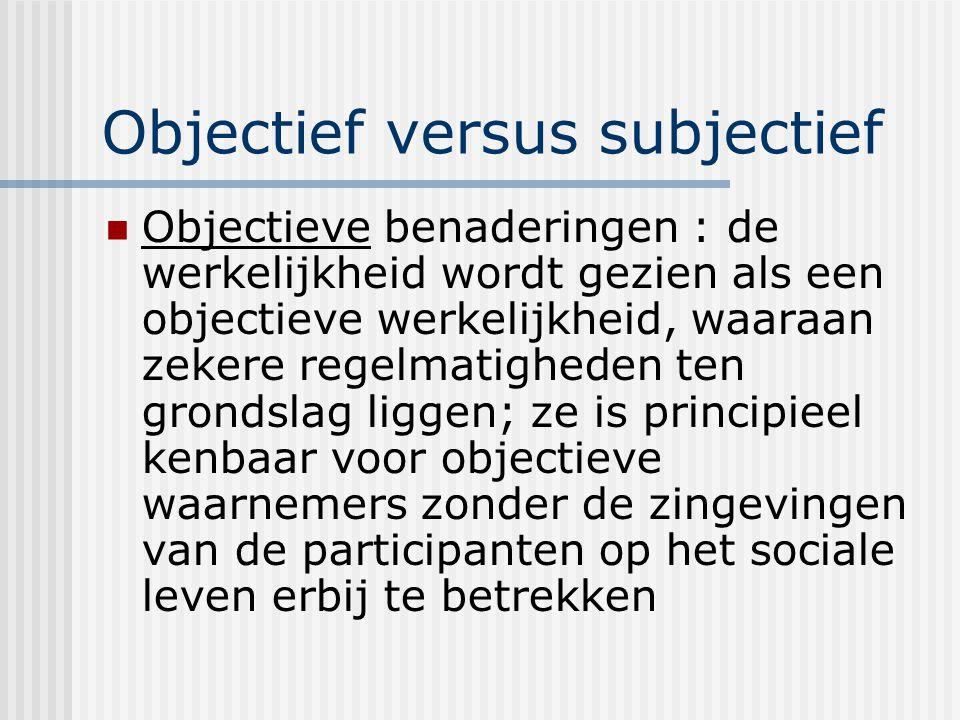 Objectief versus subjectief