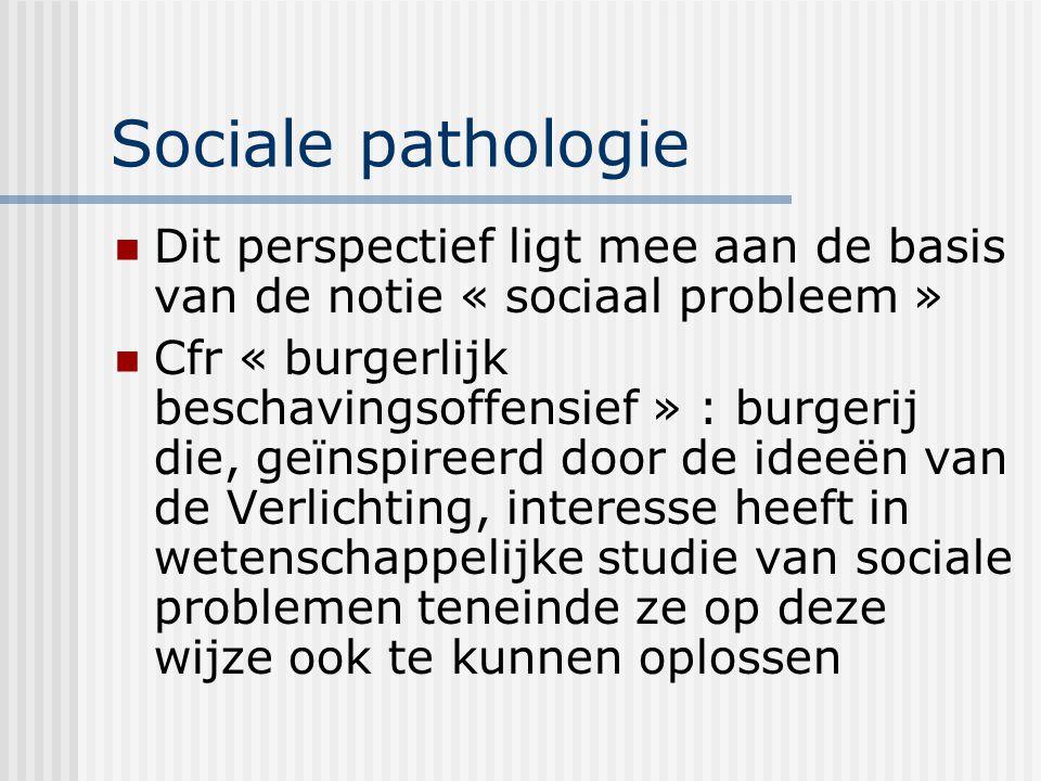 Sociale pathologie Dit perspectief ligt mee aan de basis van de notie « sociaal probleem »