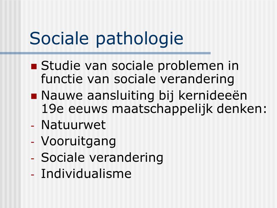 Sociale pathologie Studie van sociale problemen in functie van sociale verandering.