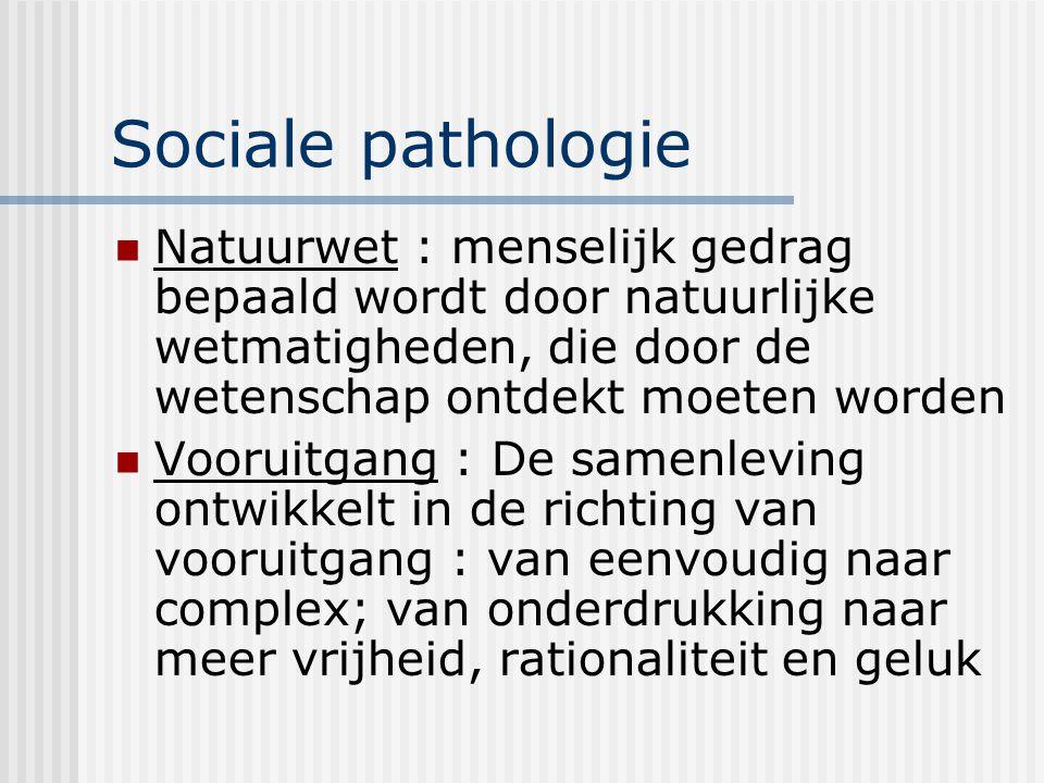 Sociale pathologie Natuurwet : menselijk gedrag bepaald wordt door natuurlijke wetmatigheden, die door de wetenschap ontdekt moeten worden.