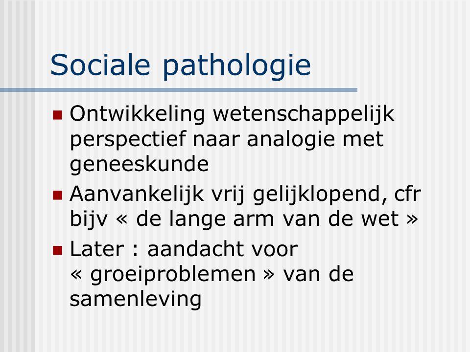 Sociale pathologie Ontwikkeling wetenschappelijk perspectief naar analogie met geneeskunde.