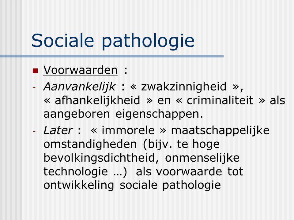 Sociale pathologie Voorwaarden :
