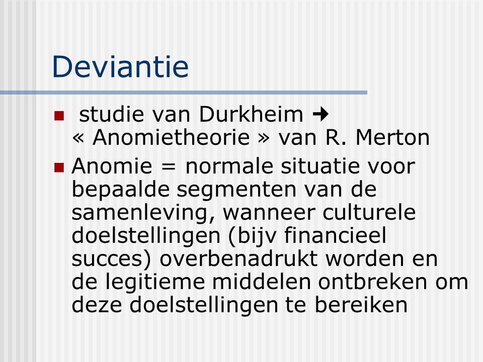 Deviantie studie van Durkheim  « Anomietheorie » van R. Merton