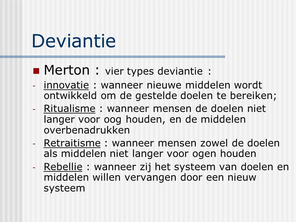 Deviantie Merton : vier types deviantie :