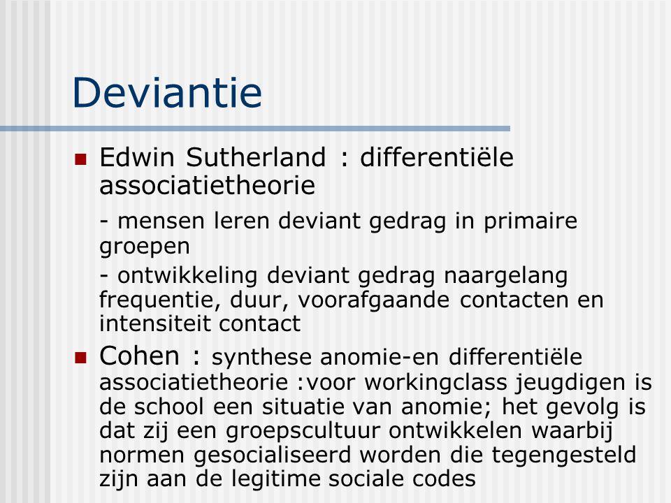 Deviantie Edwin Sutherland : differentiële associatietheorie