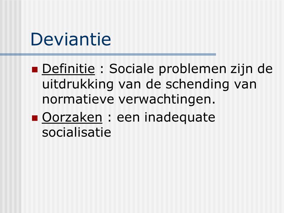 Deviantie Definitie : Sociale problemen zijn de uitdrukking van de schending van normatieve verwachtingen.