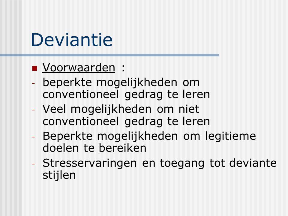 Deviantie Voorwaarden :