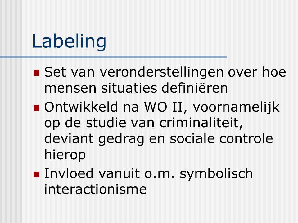 Labeling Set van veronderstellingen over hoe mensen situaties definiëren.