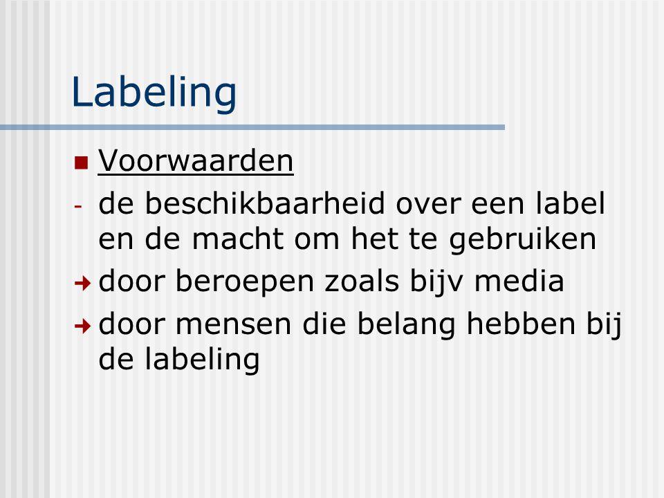 Labeling Voorwaarden. de beschikbaarheid over een label en de macht om het te gebruiken. door beroepen zoals bijv media.