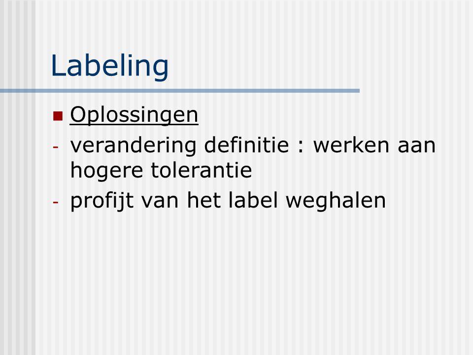 Labeling Oplossingen. verandering definitie : werken aan hogere tolerantie.