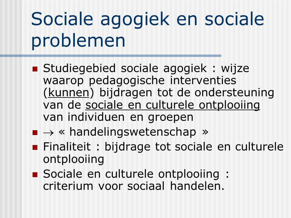 Sociale agogiek en sociale problemen