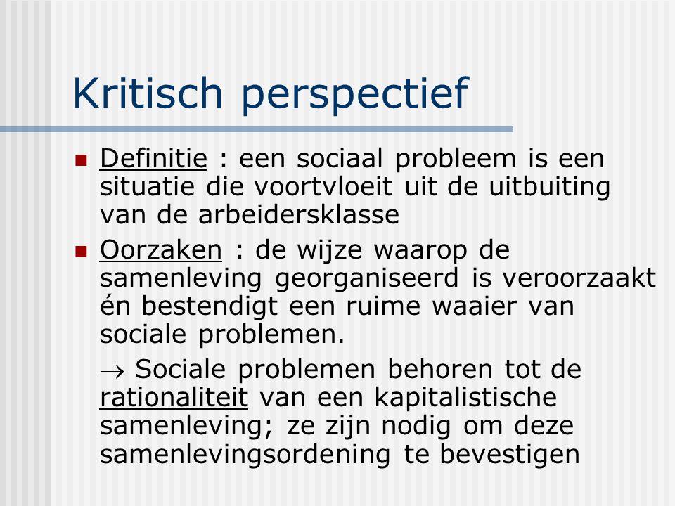Kritisch perspectief Definitie : een sociaal probleem is een situatie die voortvloeit uit de uitbuiting van de arbeidersklasse.
