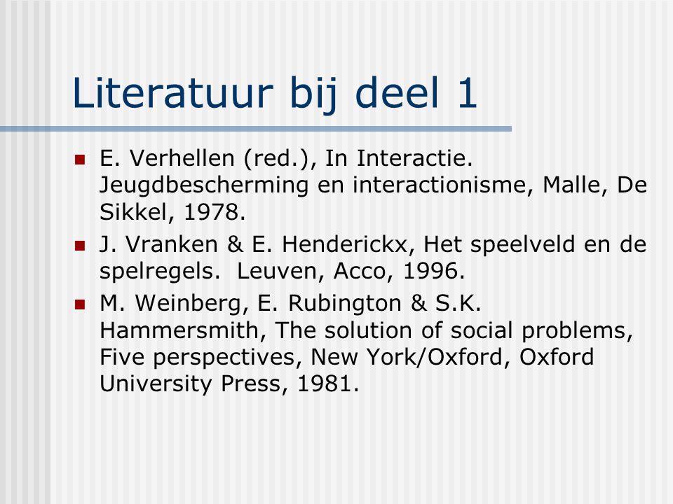 Literatuur bij deel 1 E. Verhellen (red.), In Interactie. Jeugdbescherming en interactionisme, Malle, De Sikkel, 1978.
