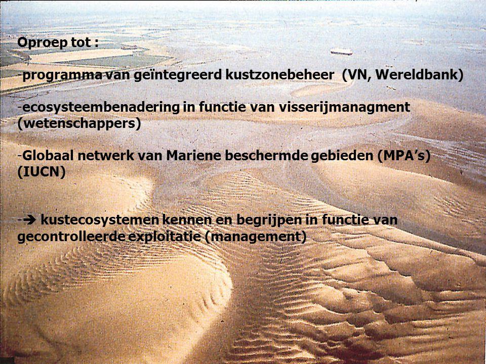 Oproep tot : programma van geïntegreerd kustzonebeheer (VN, Wereldbank) ecosysteembenadering in functie van visserijmanagment (wetenschappers)