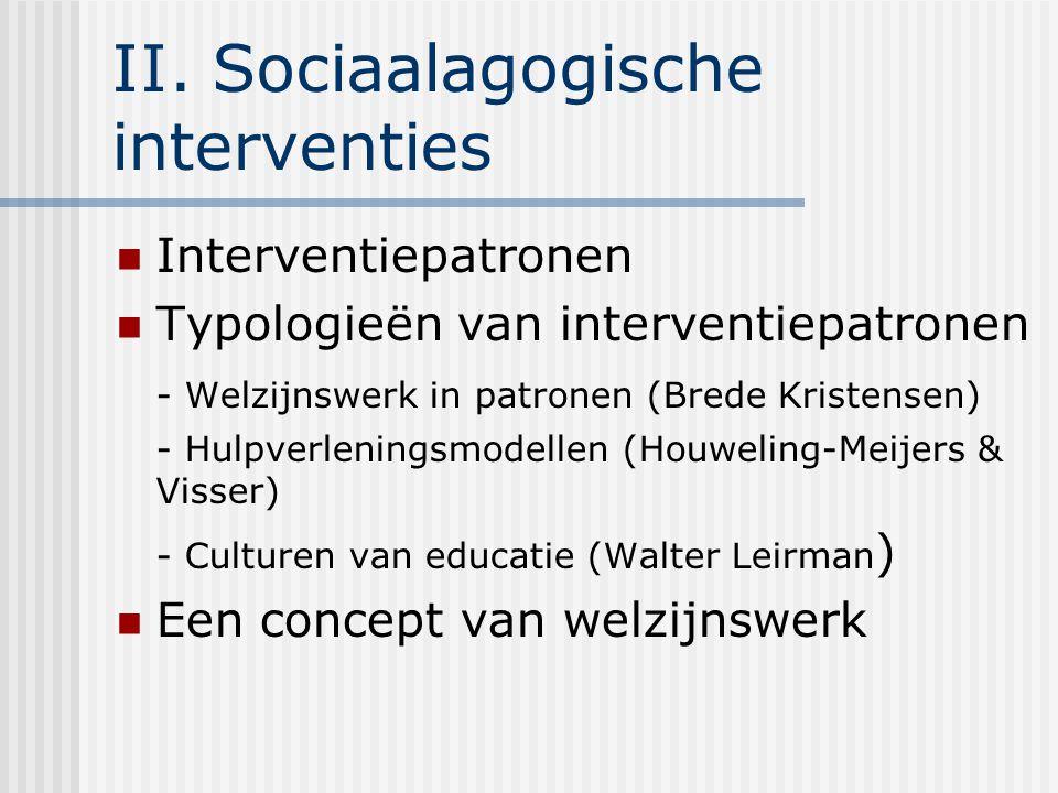 II. Sociaalagogische interventies