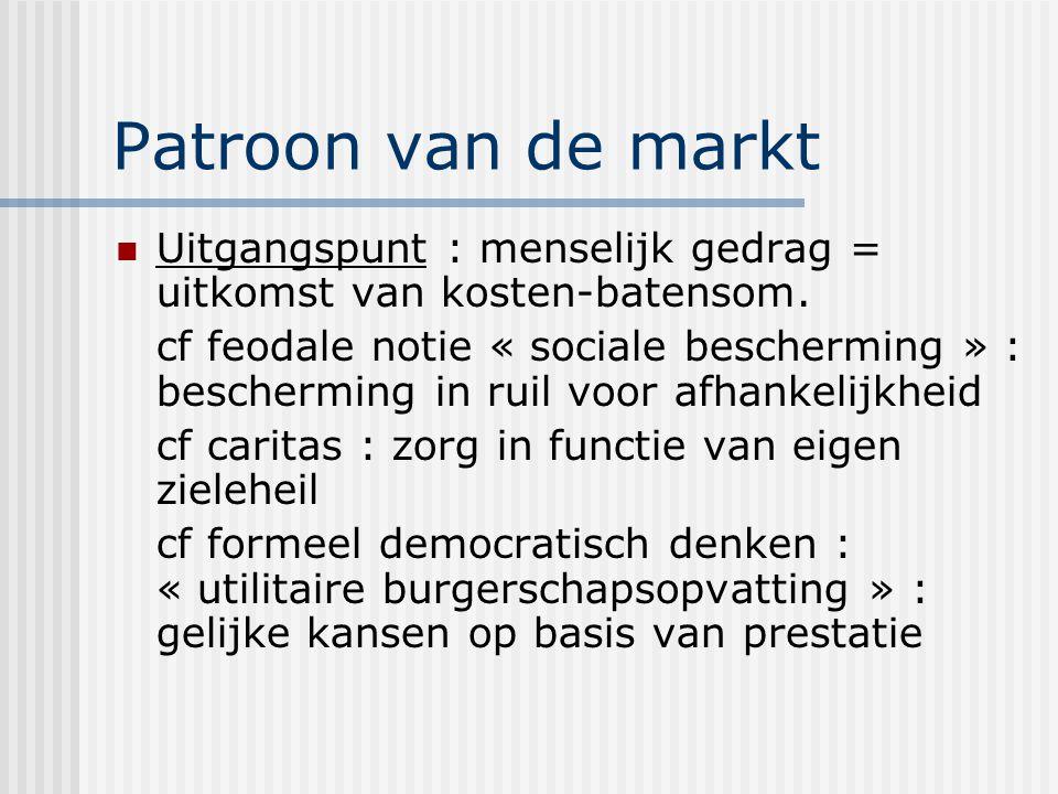 Patroon van de markt Uitgangspunt : menselijk gedrag = uitkomst van kosten-batensom.