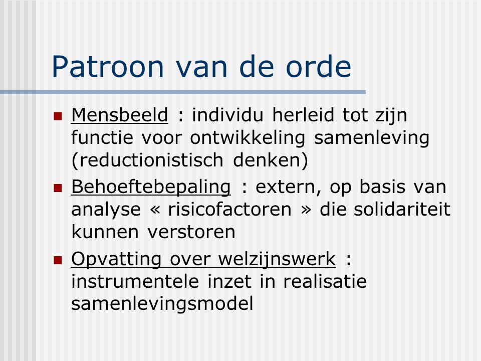 Patroon van de orde Mensbeeld : individu herleid tot zijn functie voor ontwikkeling samenleving (reductionistisch denken)
