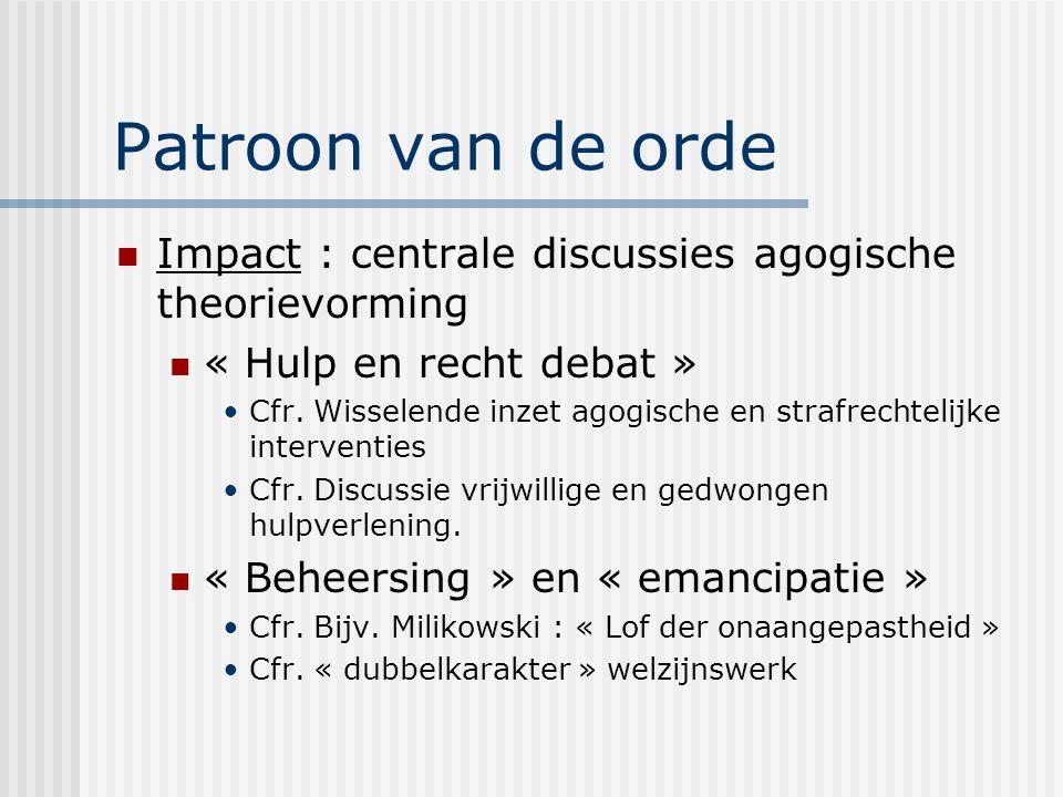 Patroon van de orde Impact : centrale discussies agogische theorievorming. « Hulp en recht debat »