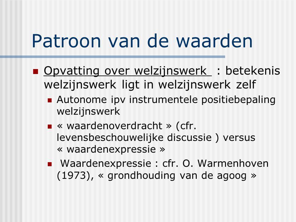 Patroon van de waarden Opvatting over welzijnswerk : betekenis welzijnswerk ligt in welzijnswerk zelf.