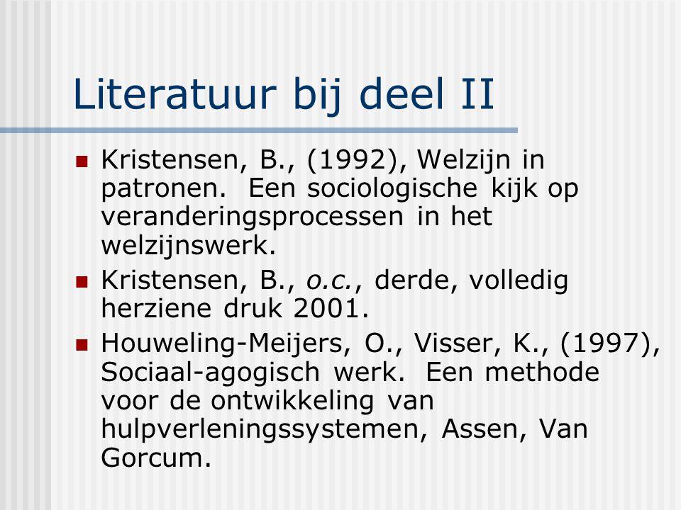Literatuur bij deel II Kristensen, B., (1992), Welzijn in patronen. Een sociologische kijk op veranderingsprocessen in het welzijnswerk.