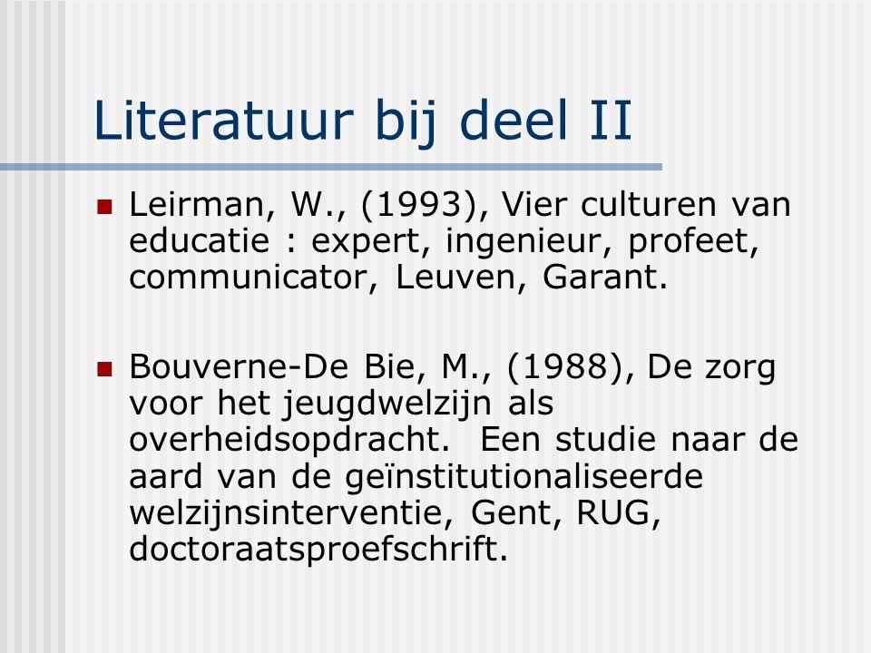 Literatuur bij deel II Leirman, W., (1993), Vier culturen van educatie : expert, ingenieur, profeet, communicator, Leuven, Garant.