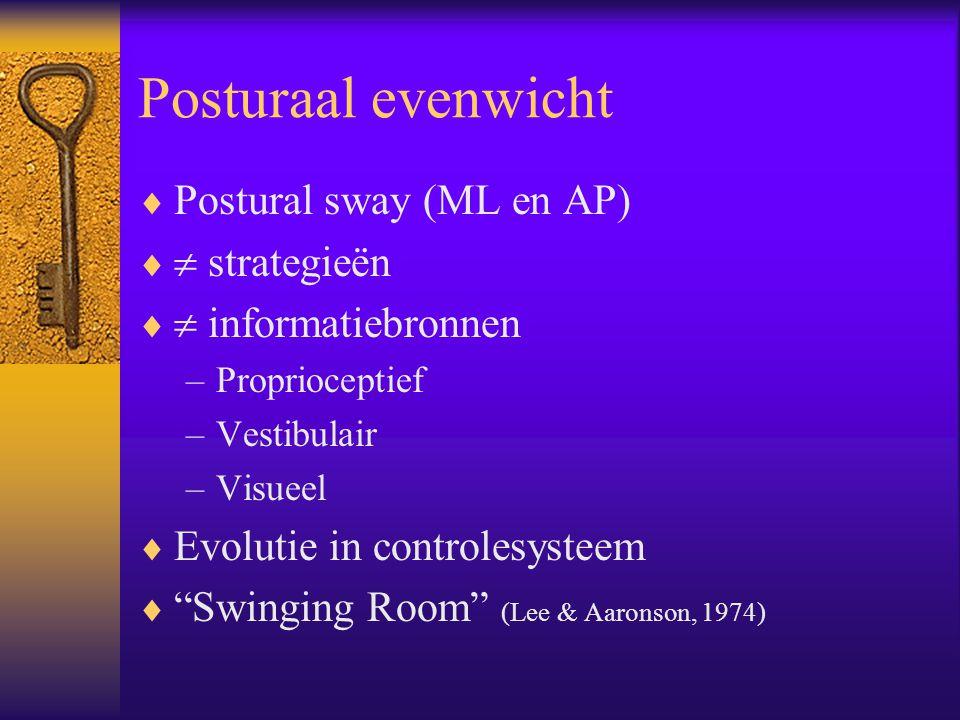 Posturaal evenwicht Postural sway (ML en AP)  strategieën