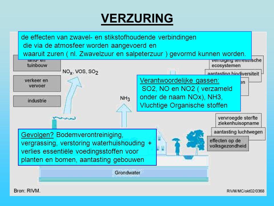 VERZURING de effecten van zwavel- en stikstofhoudende verbindingen
