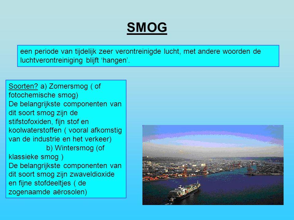 SMOG een periode van tijdelijk zeer verontreinigde lucht, met andere woorden de luchtverontreiniging blijft 'hangen'.