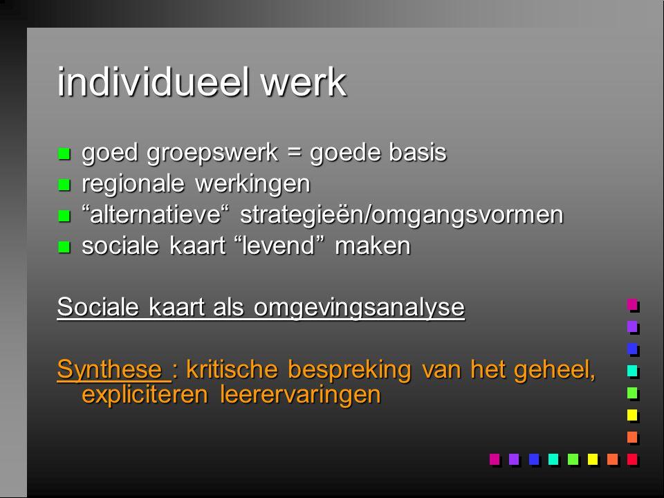 individueel werk goed groepswerk = goede basis regionale werkingen