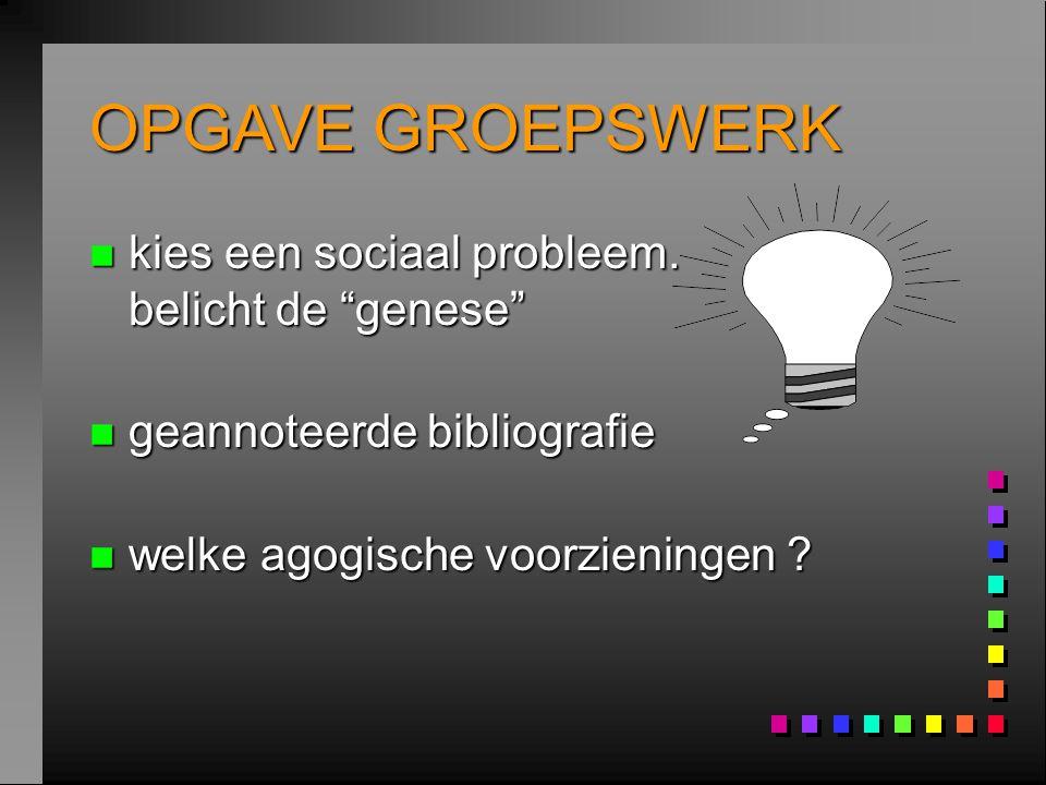 OPGAVE GROEPSWERK kies een sociaal probleem. belicht de genese