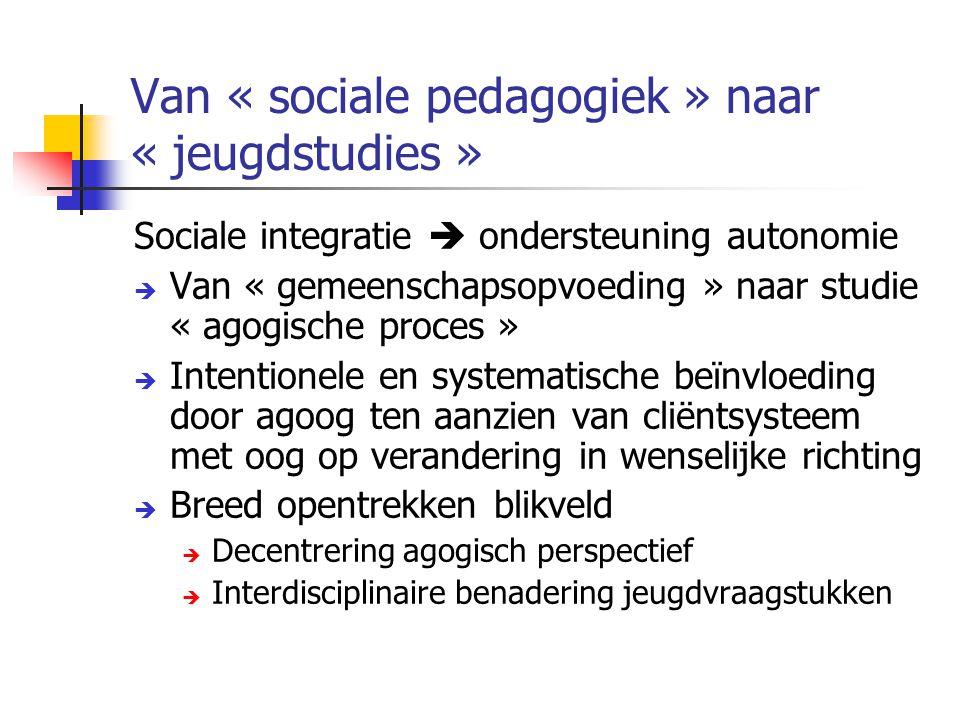 Van « sociale pedagogiek » naar « jeugdstudies »