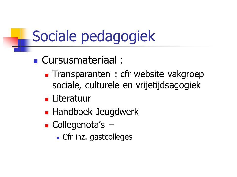 Sociale pedagogiek Cursusmateriaal :