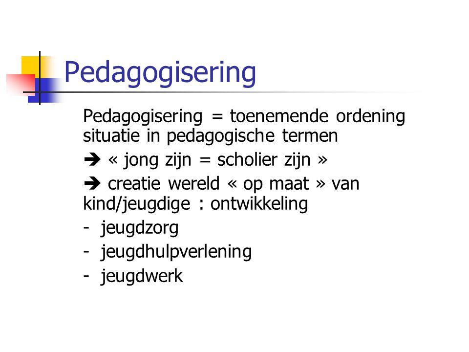 Pedagogisering Pedagogisering = toenemende ordening situatie in pedagogische termen.  « jong zijn = scholier zijn »