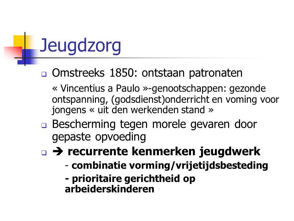 Jeugdzorg Omstreeks 1850: ontstaan patronaten