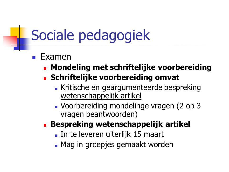 Sociale pedagogiek Examen Mondeling met schriftelijke voorbereiding