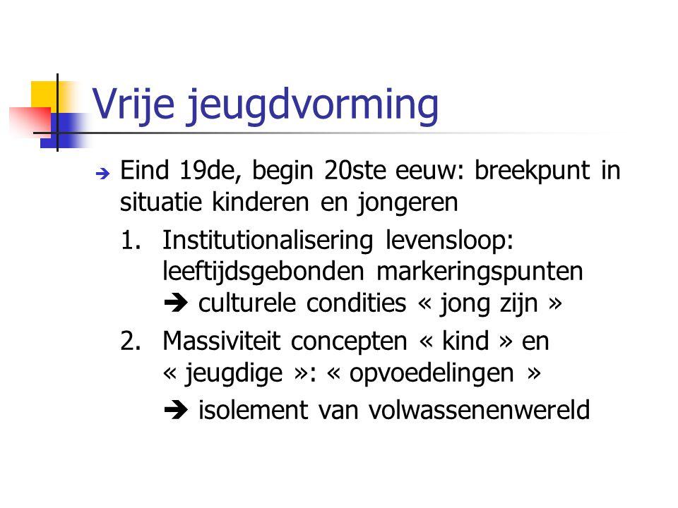 Vrije jeugdvorming Eind 19de, begin 20ste eeuw: breekpunt in situatie kinderen en jongeren.
