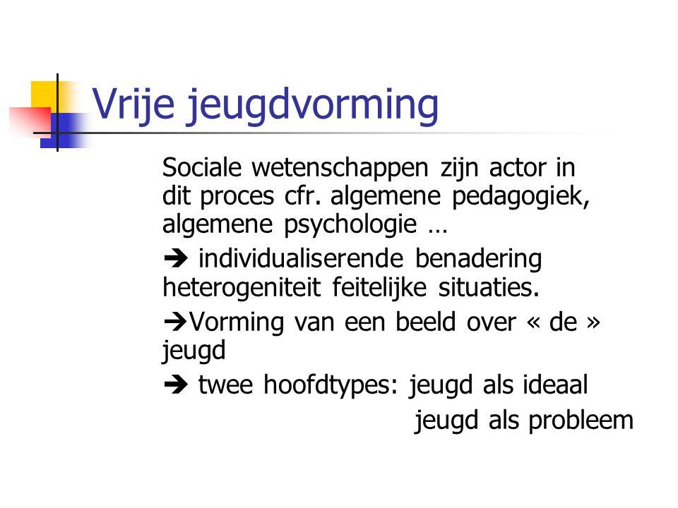 Vrije jeugdvorming Sociale wetenschappen zijn actor in dit proces cfr. algemene pedagogiek, algemene psychologie …