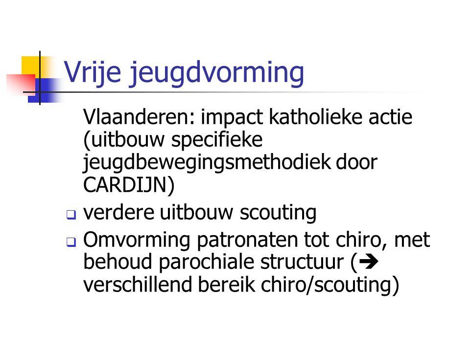 Vrije jeugdvorming Vlaanderen: impact katholieke actie (uitbouw specifieke jeugdbewegingsmethodiek door CARDIJN)
