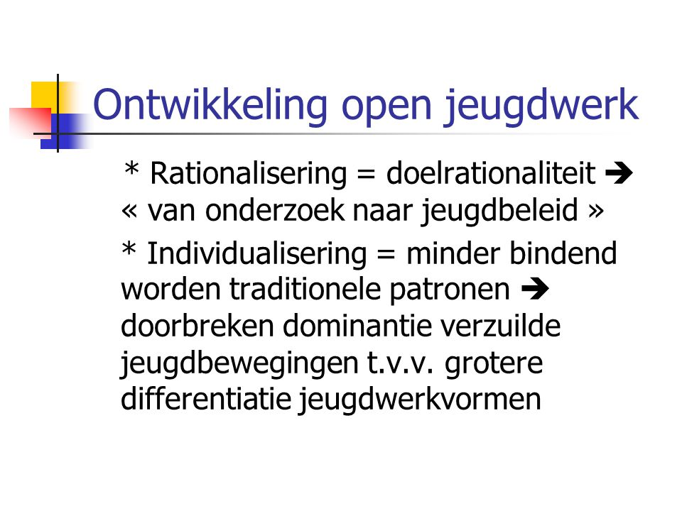 Ontwikkeling open jeugdwerk