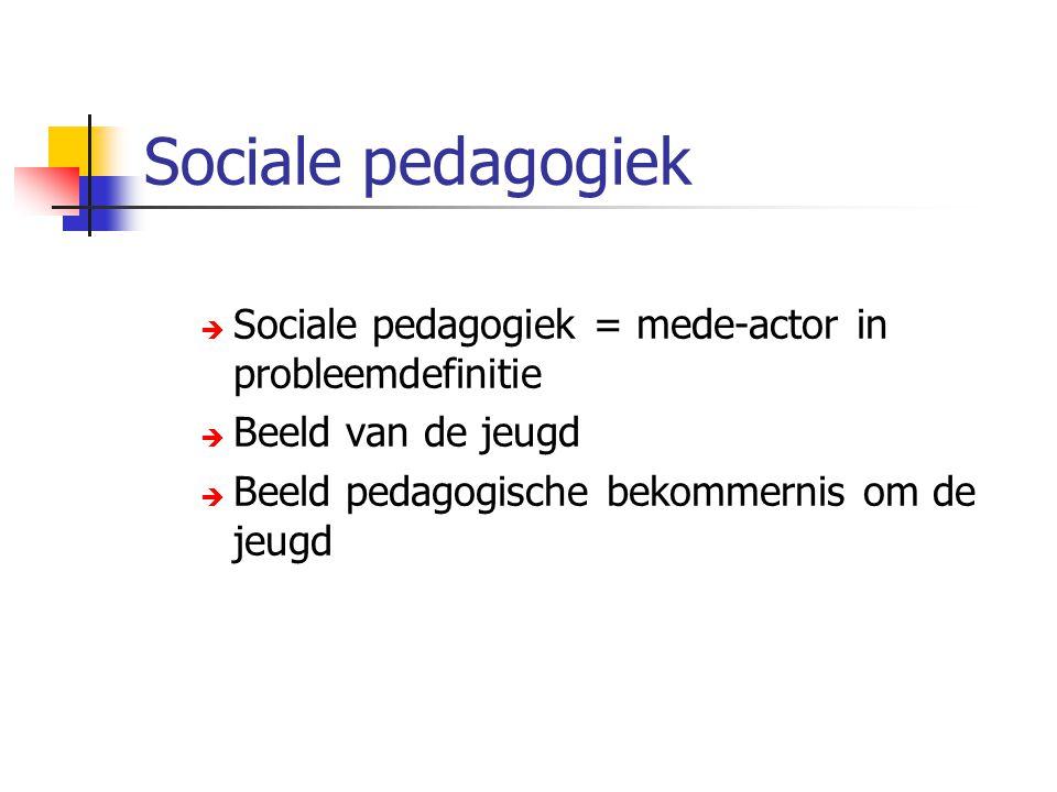 Sociale pedagogiek Sociale pedagogiek = mede-actor in probleemdefinitie.