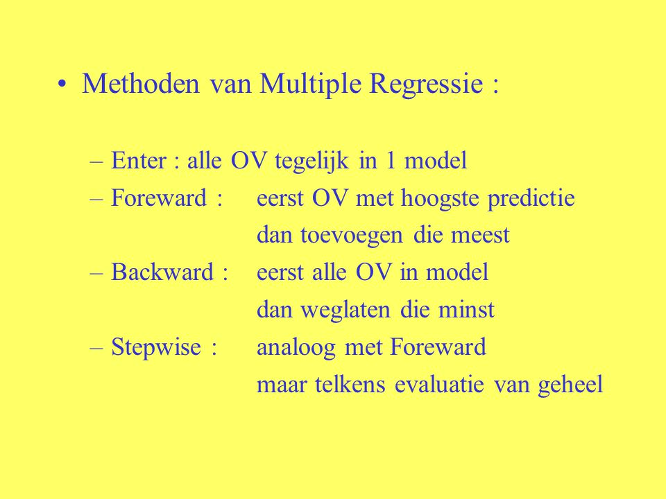Methoden van Multiple Regressie :