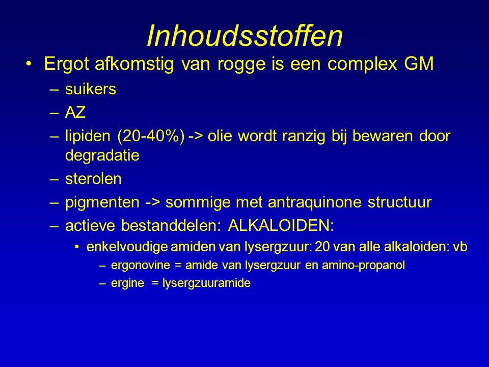 Inhoudsstoffen Ergot afkomstig van rogge is een complex GM suikers AZ