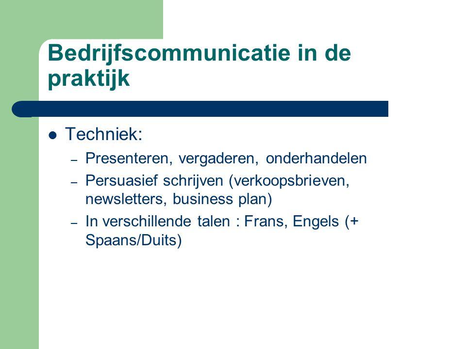 Bedrijfscommunicatie in de praktijk
