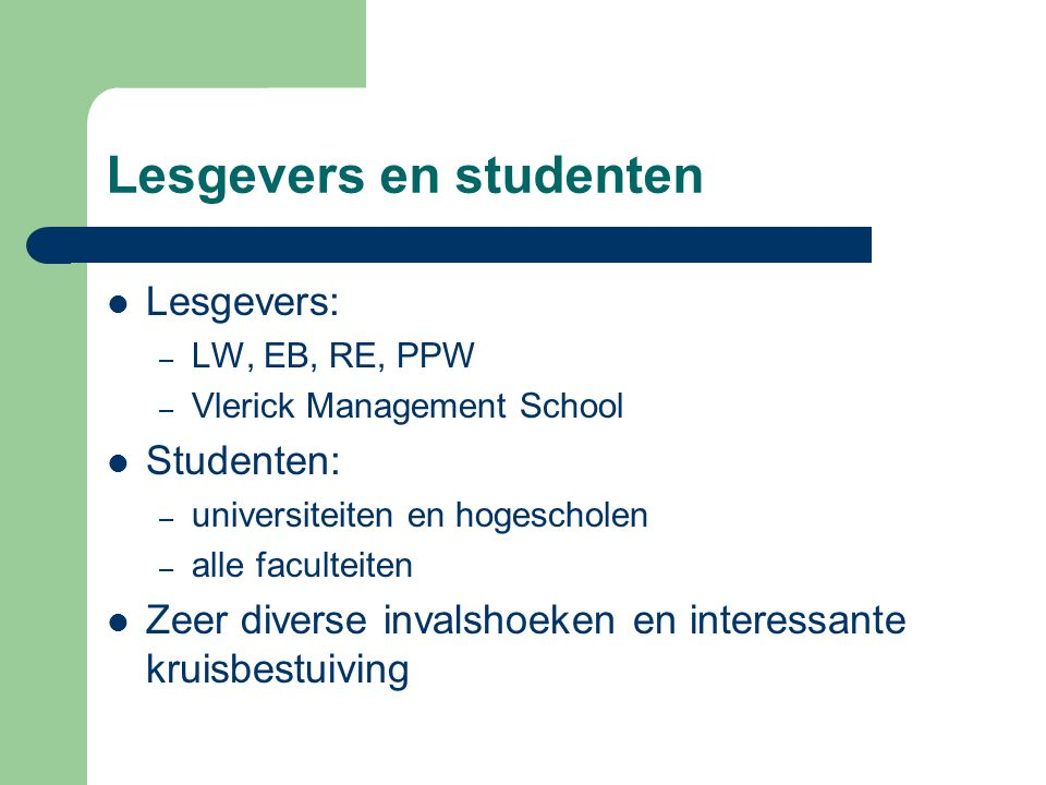 Lesgevers en studenten
