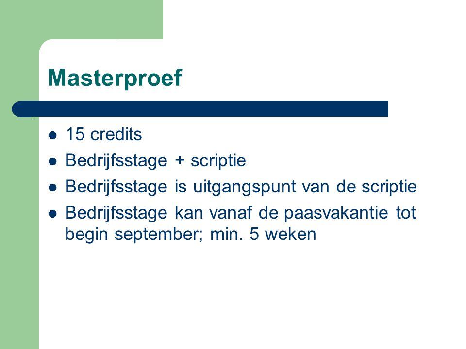 Masterproef 15 credits Bedrijfsstage + scriptie