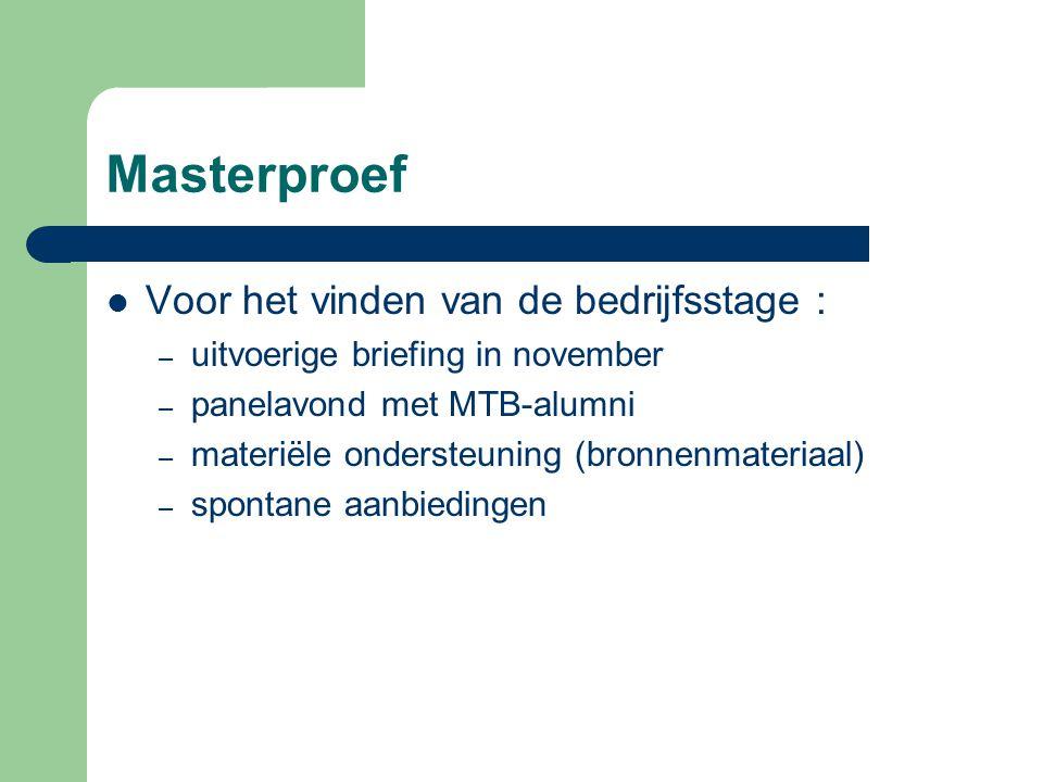 Masterproef Voor het vinden van de bedrijfsstage :