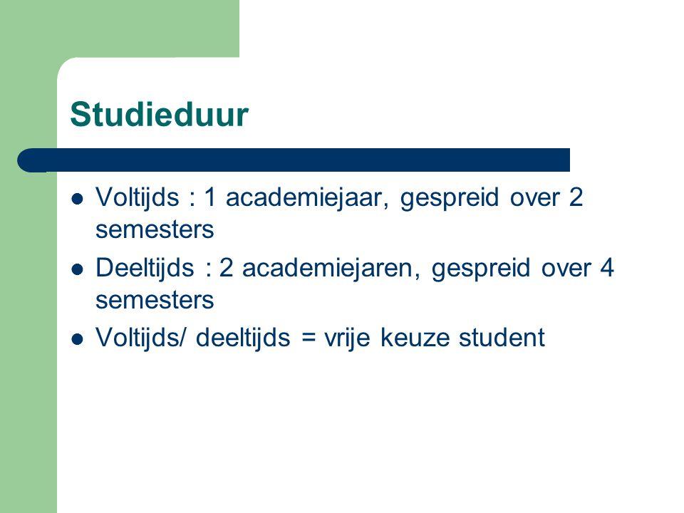 Studieduur Voltijds : 1 academiejaar, gespreid over 2 semesters