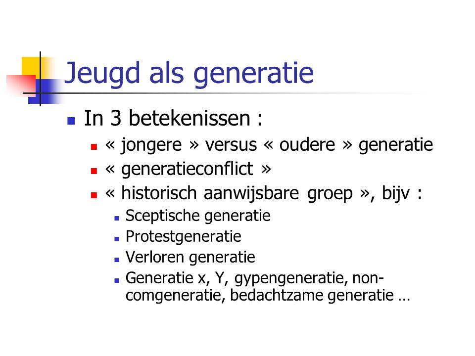 Jeugd als generatie In 3 betekenissen :